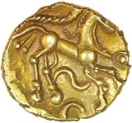 Corded Serpent. c.55-45 BC. Eastern. Celtic gold quarter stater. 12mm. 1.30g.