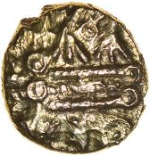 Wiltshire Wheels. c.45-35 BC. East Wiltshire. Celtic gold quarter stater. 10mm. 1.16g.