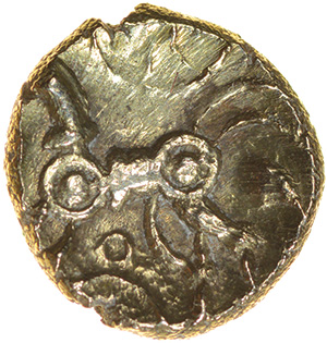 Wiltshire Wheels. c.45-35 BC. East Wiltshire. Celtic gold quarter stater. 10mm. 1.16g. - Image 2 of 2