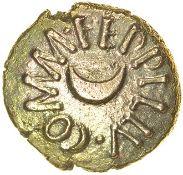 Eppillus Crescent. c.20BC-AD1. Atrebates. Celtic gold quarter stater. 10mm. 1.12g.