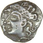 Bury Diadem. Talbot Bury A, dies D/6. c.55-50 BC. Iceni. Celtic silver unit. 14mm. 1.41g.