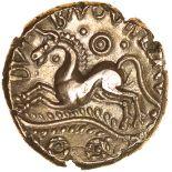 Dubnovellaunos Branch. II Type. Sills class 2b. c.25-10 BC. Trinovantes. Gold stater. 18mm. 5.47g.