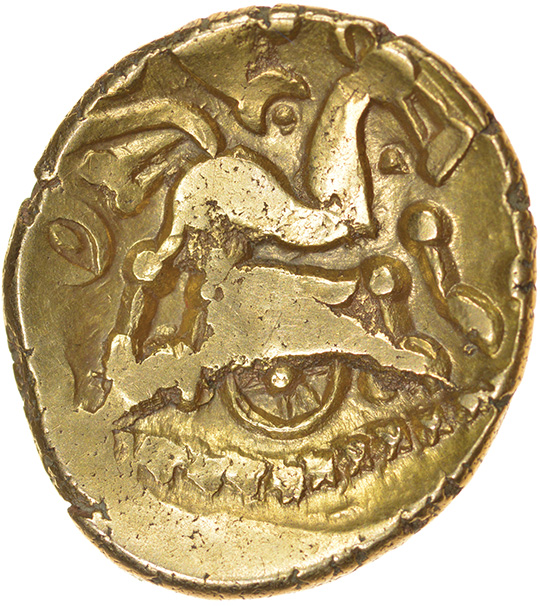 Tribal Tree. Small Type with Star. c.55-45 BC. Dobunni. Celtic gold stater. 18-20mm. 5.62g.