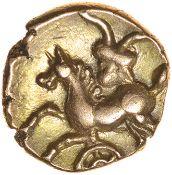 Andoco Crescent Wreath. c.20-1 BC. Catuvellauni. Celtic gold quarter stater. 11mm. 1.32g.