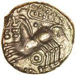 Cunobelinus Biga. c.AD8-41. Catuvellauni & Trinovantes. Celtic gold quarter stater. 11mm. 1.24g.
