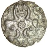 Facing Horses. Right Type. c.50-40 BC. East Wiltshire. Celtic silver unit. 15mm. 1.34g.