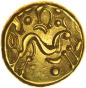 Gallic War Uniface. c.55-54 BC. Ambiani. Celtic Gold stater. 16mm. 6.26g.