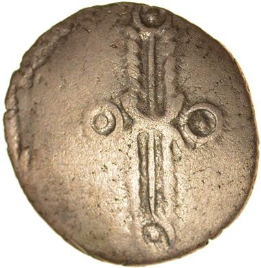 Dubnovellaunos Trefoil.c.25-10 BC. Trinovantes. Celtic gold quarter stater. 13mm. 1.30g. - Image 2 of 2