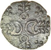 Crescent Corn Ears. Talbot EPH (B) unit. c.AD 10-25. Iceni. Celtic silver unit. 12mm. 1.21g.