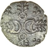 Crescent Corn Ears. Talbot EPH (B) unit. c.AD 10-25. Iceni. Celtic silver unit. 12mm. 1.21g.