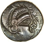 Ogmios and V-Boar. Coriosolites. c.57-56 BC. Celtic silver stater. 20mm. 5.96g.