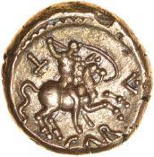 Caratacus Warrior. c.AD40-43. Atrebates. Celtic gold stater. 16mm. 5.35g.