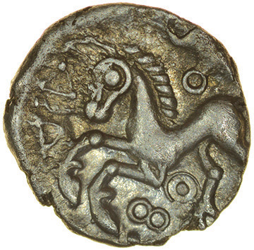 Facing Heads. c.50-30 BC. Cantiaci. Celtic silver unit. 12mm. 1.05g. - Image 2 of 2