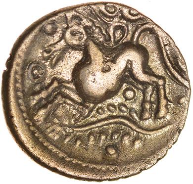 Dubnovellaunos Trefoil.c.25-10 BC. Trinovantes. Celtic gold quarter stater. 13mm. 1.30g.