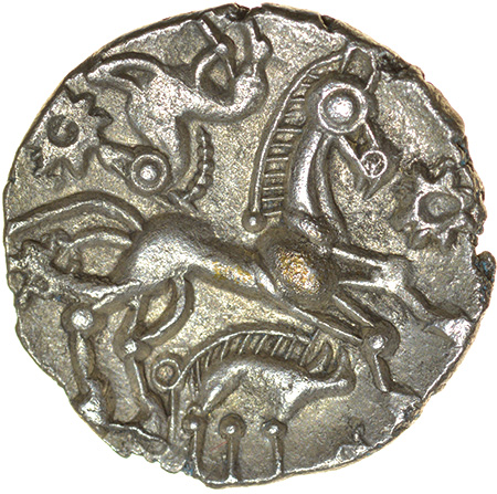 Facing Horses. Right Type. c.50-40 BC. East Wiltshire. Celtic silver unit. 15mm. 1.34g. - Image 2 of 2