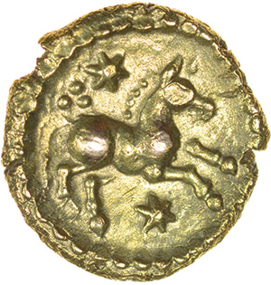 Eppillus Crescent. c.20BC-AD1. Atrebates. Celtic gold quarter stater. 10mm. 1.12g. - Image 2 of 2