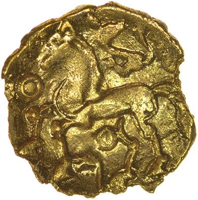Climping Quarter. c.55-45 BC. Regini. Celtic gold quarter stater. 13mm. 0.95g.