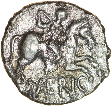 Verica Galley. c.AD10-40. Cantiaci. Celtic silver unit. 12mm. 1.03g. - Image 2 of 2