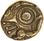 Funtington Ring (formerly Qc Corkscrew).Regini. c.55-45 BC. Gold quarter stater. 9mm. 1.09g.