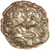 Danebury Scrolls Right Overstrike. c.55-45 BC. Belgae. Celtic gold quarter stater. 12mm. 0.92g.