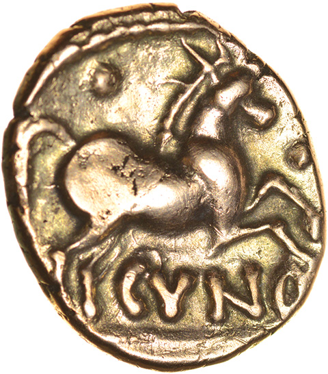 Cunobelinus (Agr?) No Branch Type. c.AD8-41. Cat & Trin. Celtic gold stater. 15-17mm. 5.32g. - Image 2 of 2