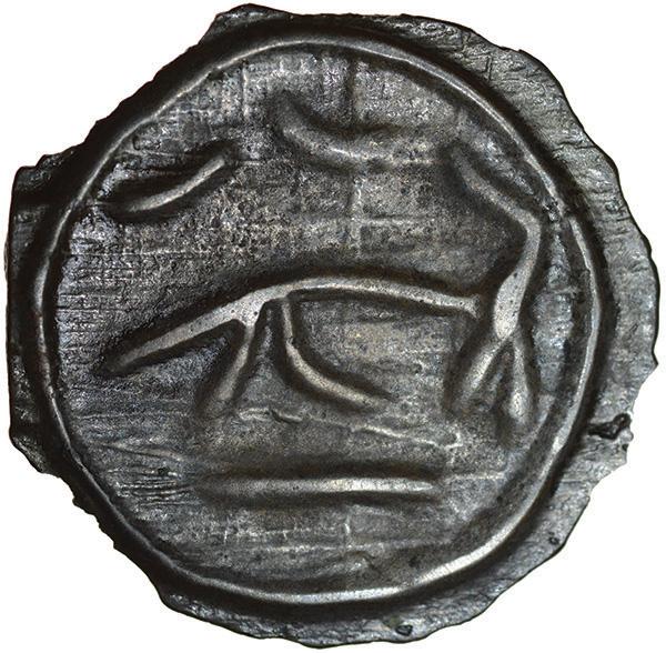 Heavy Striations. Angular Bull Type. Cantiaci. c.100-90 BC. Celtic cast potin. 20mm. 2.30g. - Image 2 of 2