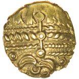 Heybridge Triangle. c.50-40 BC. Trinovantes. Celtic gold quarter stater. 12mm. 1.26g.