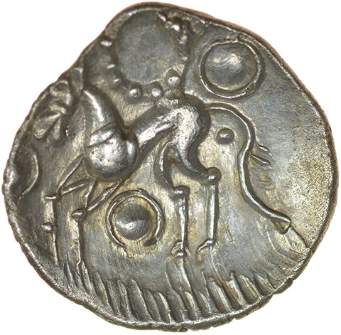 W-Forelegs Proto Boar with Grass. c.55-45 BC. Corieltauvi. Celtic silver unit. 15mm. 1.41g.