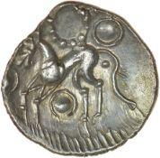 W-Forelegs Proto Boar with Grass. c.55-45 BC. Corieltauvi. Celtic silver unit. 15mm. 1.41g.