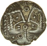Facing Heads. c.50-30 BC. Cantiaci. Celtic silver unit. 12mm. 1.05g.