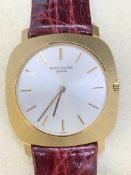 18ct GOLD PATEK PHILIPPE GENTS WATCH WITH LEATHER STRAP