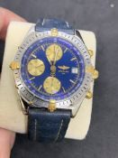 BREITLING STEEL & GOLD LEATHER STRAP WATCH