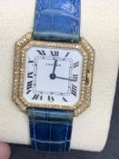 18ct GOLD & DIAMOND CARTIER SQUARE FACED WATCH