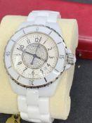 CHANEL J12 CERAMIC DIAMOND SET AUTOMATIC WATCH