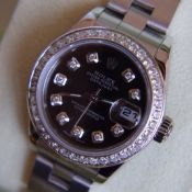 (Full Set) *Gorgeous* 2002 Rolex Oyster Datejust Stainless Steel - Glossy Black Diamond-set Dial