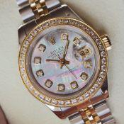 Rolex Datejust 26' 18ct Gold & Steel (Black Pearl Diamond Dial)