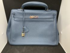 BLUE HERMES BIRKIN / KELLY BAG