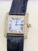 CARTIER 18ct GOLD DIAMOND SQUARE FACE WATCH