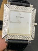 18ct GOLD BOUCHERON APPROX 2ct DIAMOND SET GENTS WATCH