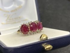 3.00ct RUBY & DIAMOND RING SET IN YELLOW GOLD