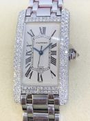 18ct WHITE GOLD GENTS CARTIER DIAMOND WATCH - APPROX 2.5ct DIAMONDS
