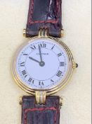 CARTIER 18ct GOLD WATCH ON LEATHER STRAP
