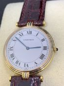 CARTIER 18ct 3 COLOUR GOLD WATCH WITH LEATHER STRAP