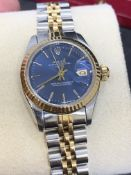 LADIES GOLD & STEEL ROLEX DATEJUST WITH BLUE DIAL
