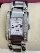 CHOPARD DIAMOND SET STAINLESS STEEL WATCH