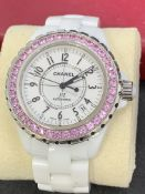 CHANEL J12 CERAMIC WATCH SET WITH PINK SAPPHIRES - AUTOMATIC
