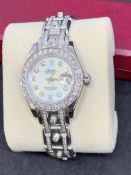 LADIES WATCH MARKED ROLEX ENCRUSTED WITH DIAMONDS - WHITE METAL TESTED AS WHITE GOLD