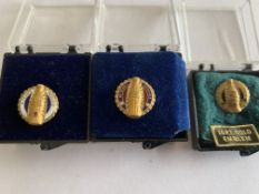 3 x 10k GOLD COCA COLA SERVICE BROOCHES - 5-10-15 YEARS SERVICE
