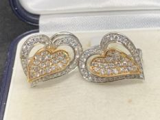 1.50ct DIAMOND SET HEART EARRINGS IN WHITE & YELLOW GOLD