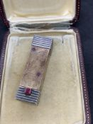RARE CARTIER SILVER & GOLD LIPSTICK & CASE SIGNED CARTIER 34g